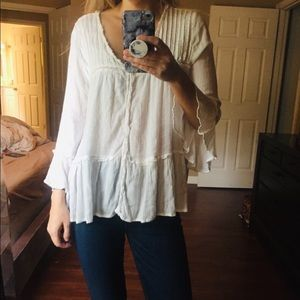 Like New FREE PEOPLE Cream Blouse L